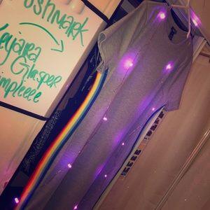 A never worn grey mini dress w/ colorful sides